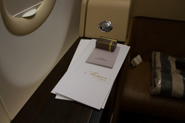A meal menu, drinks menu, tea menu as well as a personal welcome note and Belgian chocolates are offered prior to departure. Photo - Jacob Pfleger