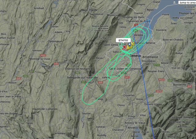 The unusual flight path the hijacked aircraft took prior to its safe landing. Image - Flightradar24