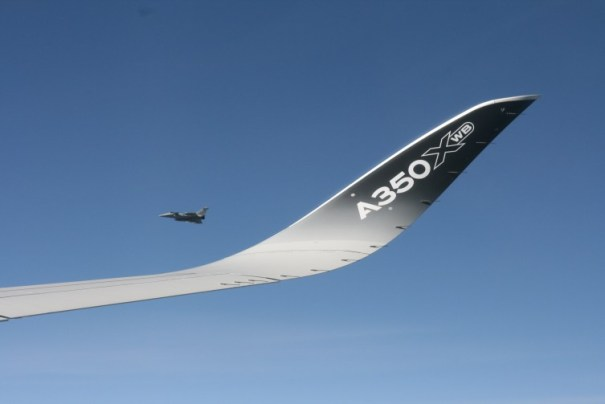 The A350 wingtip with special escort - Photo: Owen Zupp