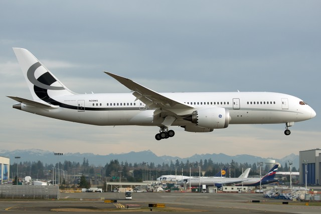 A 787-8 VIP like this one could be the perfect bargain for the US Air Force.  Just imagine this plane in Air Force VIP livery - Photo: Bernie Leighton