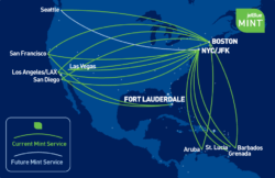 JetBlue's Mint route map.