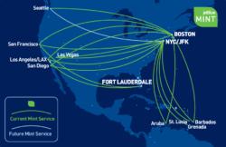 JetBlue's Mint route map.