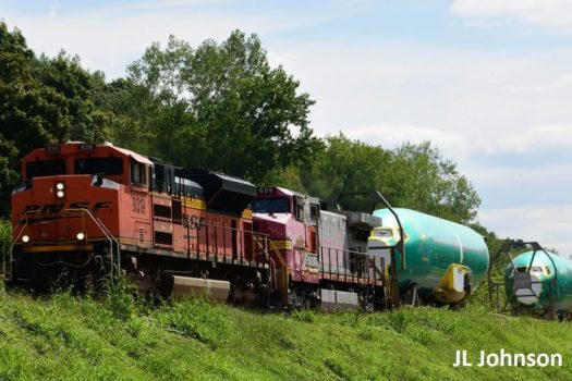 BNSF Hauls Boeing 737 fuselages from Wichita, KS to Renton, WA. Photo: - JL Johnson