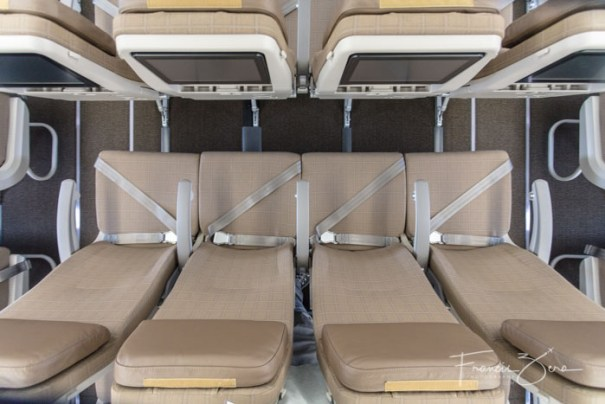 The four-abreast seating in the center economy section. Life is definitely different in the back of the plane.
