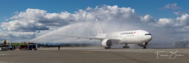 The incoming flight was greeted with a traditional water-cannon salute