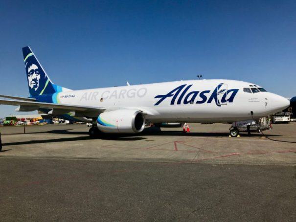 One of Alaska Airlines three newly-converted 737-700 freighters on the ramp at Seattle-Tacoma International Airport.