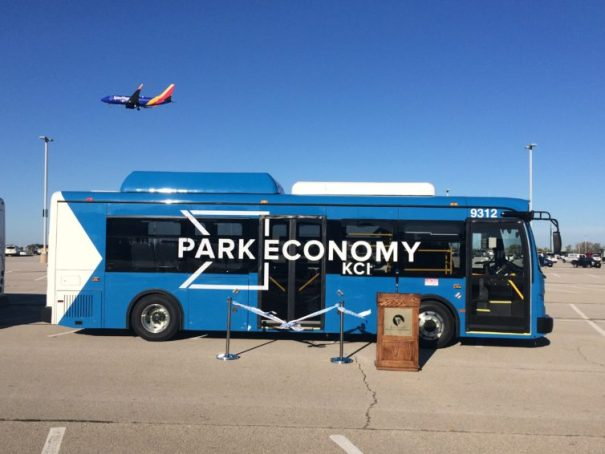 One of KCI's new electric buses. - Photo: Kansas City Aviation Department