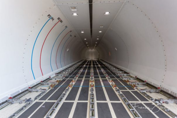 The soon-to-be-filled cargo hold of one of Alaska Airlines' new 737-700 freighters.