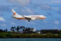 Surinam Airways flight 631 from PBM (Paramaribo, Surinam) carried by PZ-TCH, a B737.