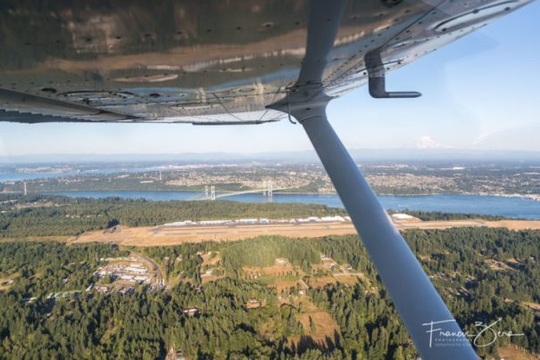 Tacoma Narrows Airport is in the foreground, Tacoma Narrows Bridge is in the middle, and Mount Rainier is in the distance. This is why I love to fly in the Pacific Northwest