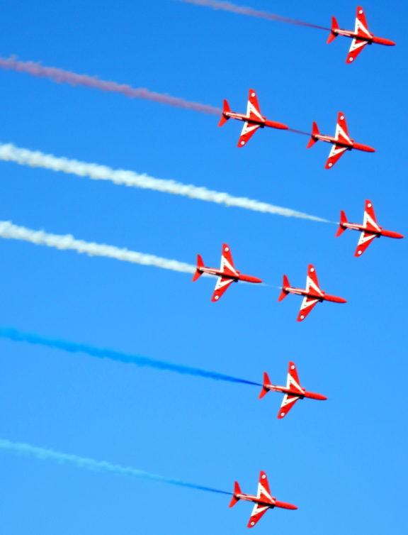 """Red Arrows seen performing their """"Phoenix"""" display."""
