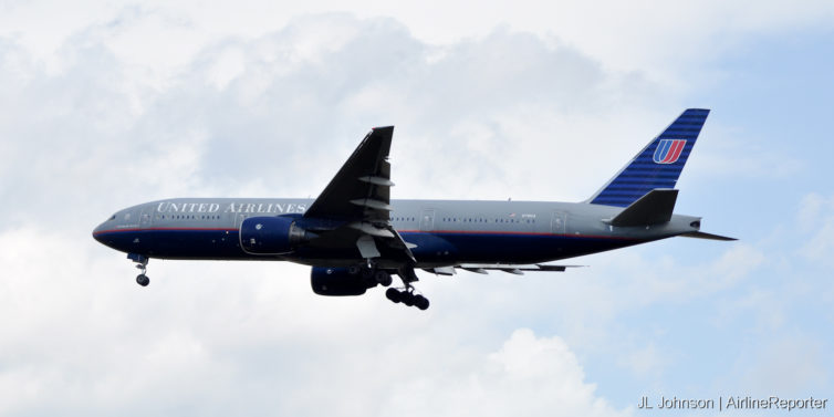 """N781UA, a Boeing 777-200 in """"battle ship"""" livery spotted at Dulles in October, 2010."""