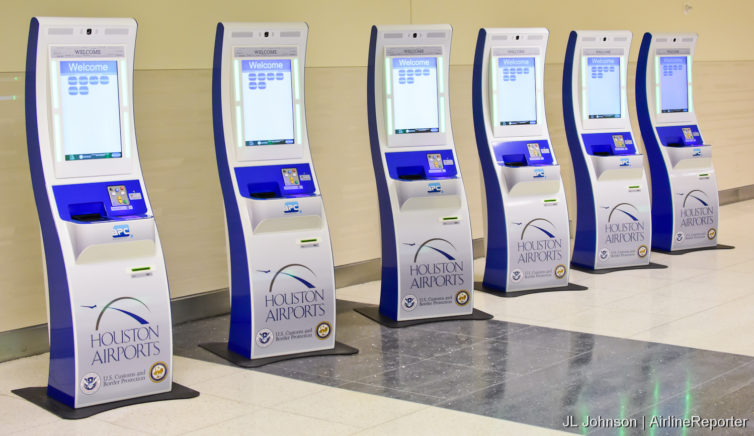 Global Entry kiosks seen at HOU's international terminal unveiling in 2014. Photo- JL Johnson