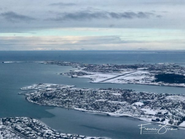 On the downwind leg to runway 13 at Reykjavik Airport