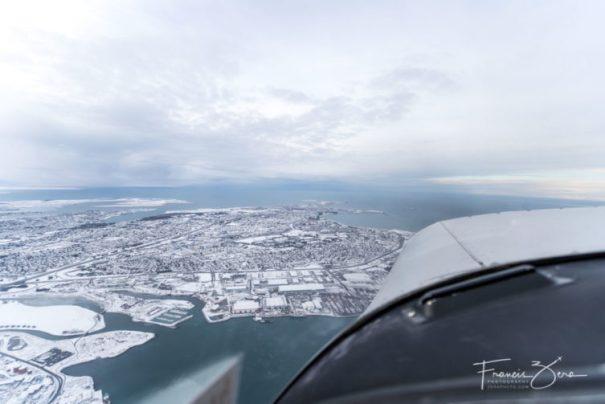 Flying over Reykjavik in a PA28