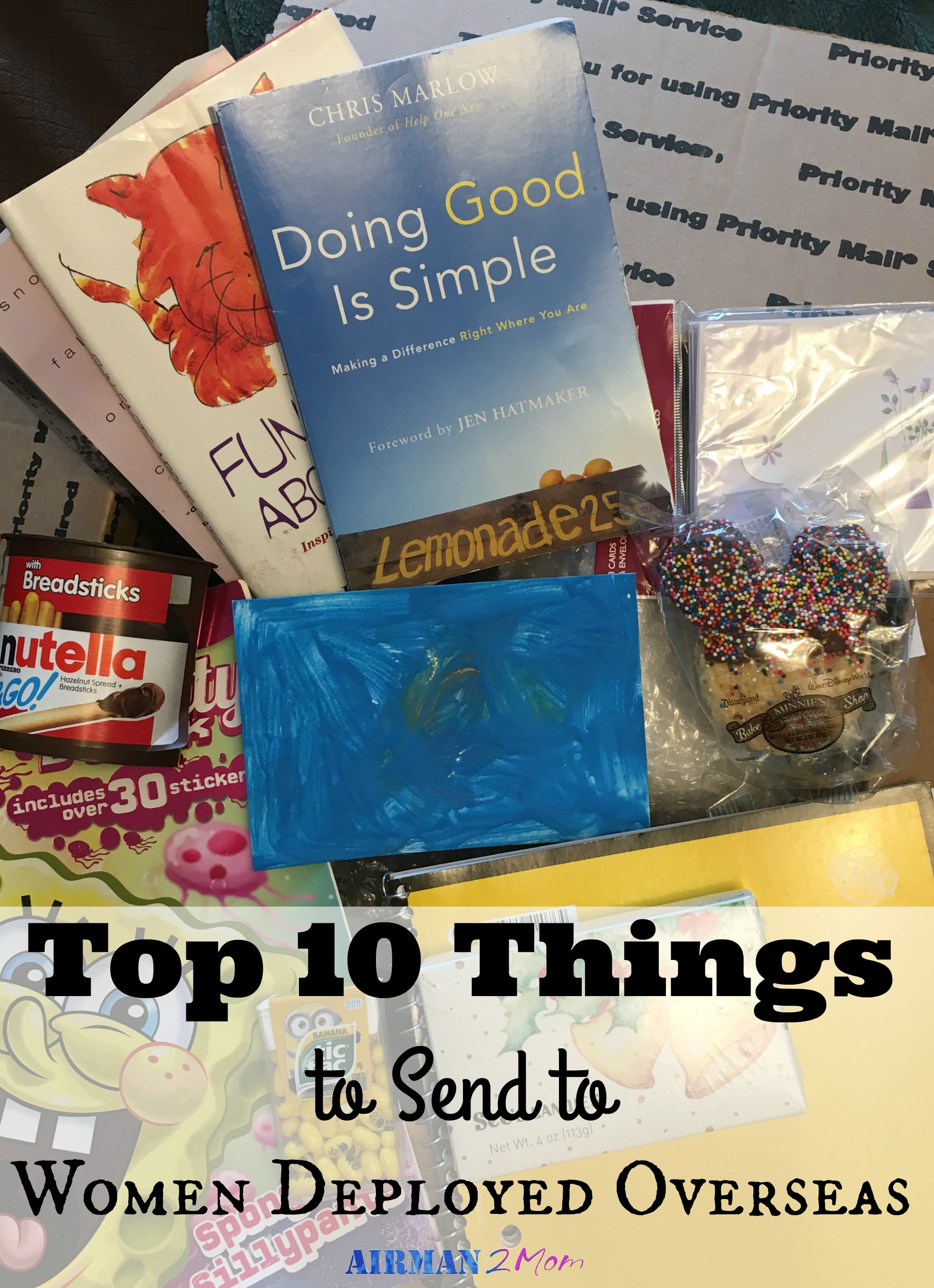 Don't know what to send in a care package to a friend serving overseas. I have you covered with my top ten care package items for women serving overseas. #carepackage #womeninthemilitay #deployment