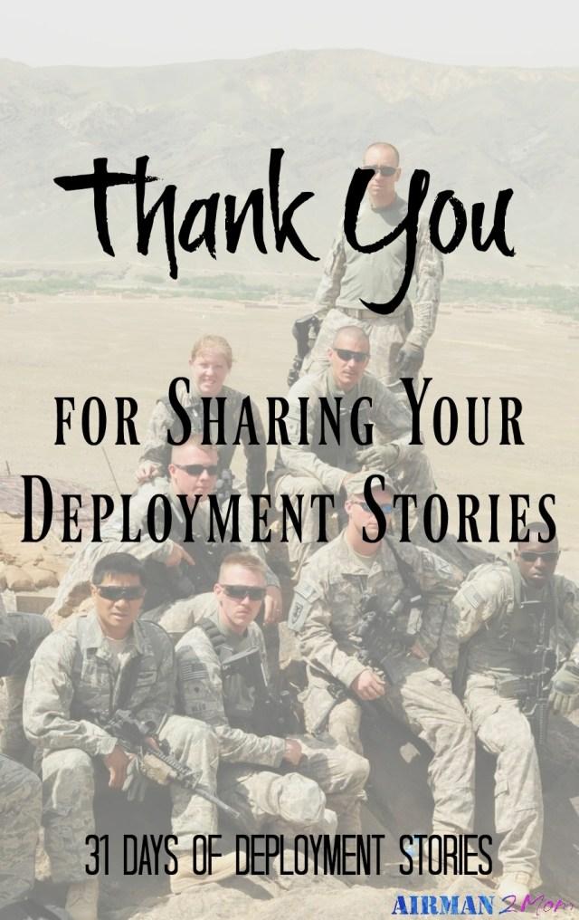 thank you for sharing your deployment stories, without your willingness to share this series wouldn't have been possible.