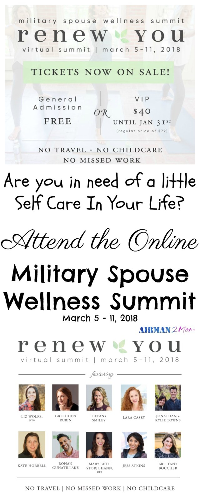 Do you have a good self care routine? If you are like me and struggling you should check out the military spouse wellness summit, general admission is free. #msws18 #msws #militaryspouse