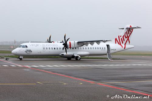 OY-CJV ATR 72-500 Virgin Australia gereed voor vertrek op platform Lelystad