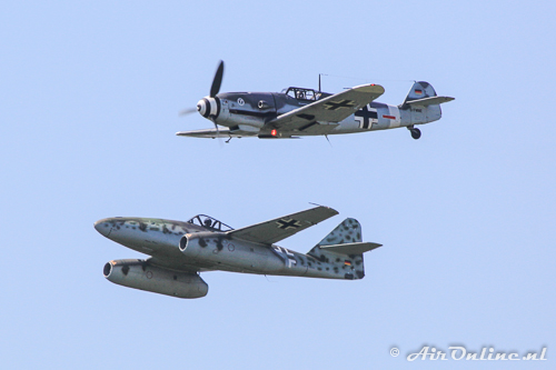 D-FWME Hispano HA-1112 M-1L Buchón (Messerschmitt Bf-109) + D-IMTT Messerschmitt Me-262A-1c Schwalbe