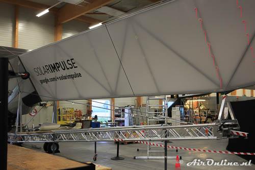 HB-SIB Solar Impulse 2 waarbij de verstevigende buizenconstructie goed te zien is