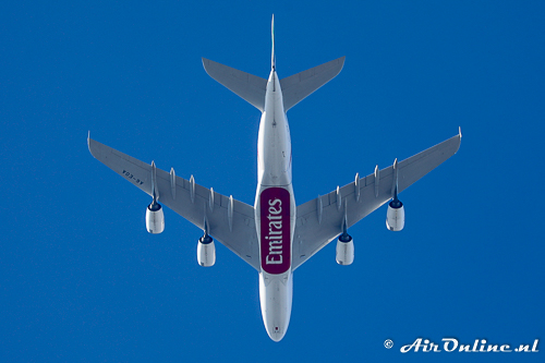A6-EOA Airbus A380-861 Emirates (overflying to Schiphol)