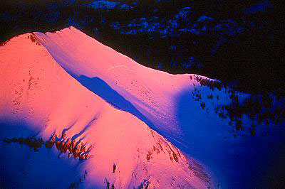 Aerial photo of Mountain Peak at Dawn, Ouray County, Colorado, CO United States