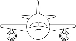 coloring page clipart image travel airliner jet airplane