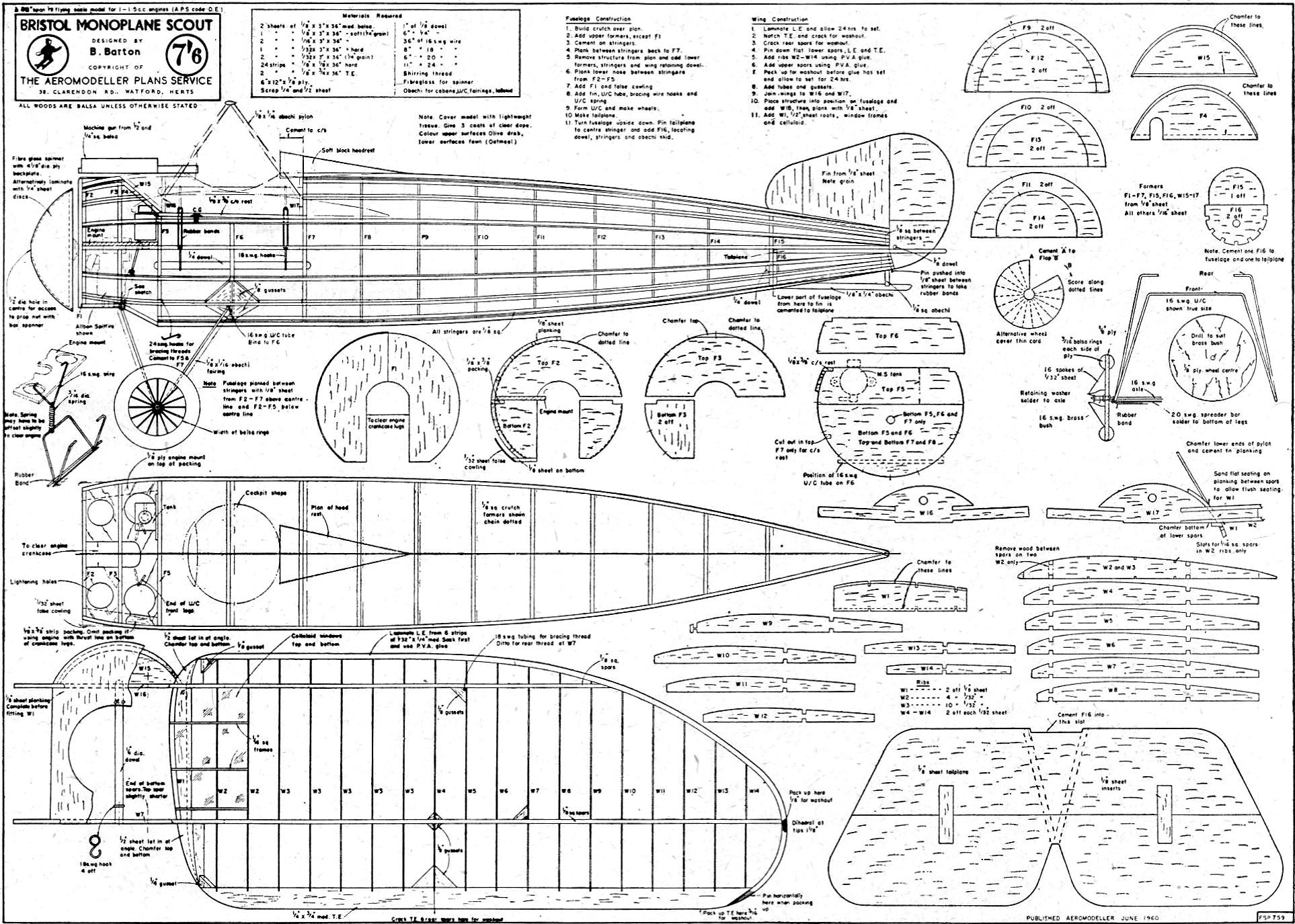 Bristol Monoplane Scout Article Amp Plans June Aero
