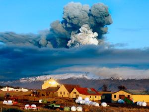 Iceland's most active volcano during eruption