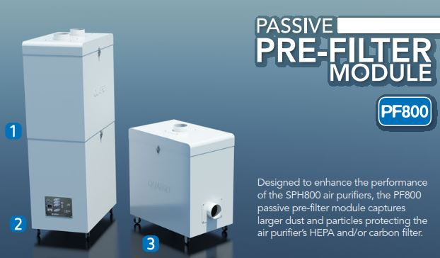 Designed to enhance the performance of the SPH800 air purifiers, the PF800 passive pre-filter module captures larger dust and particles protecting the air purifier's HEPA and/or activated carbon filter.