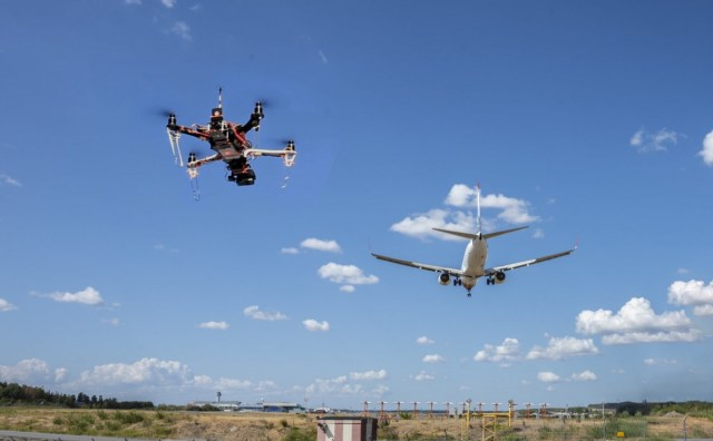 drone and manned aircraft