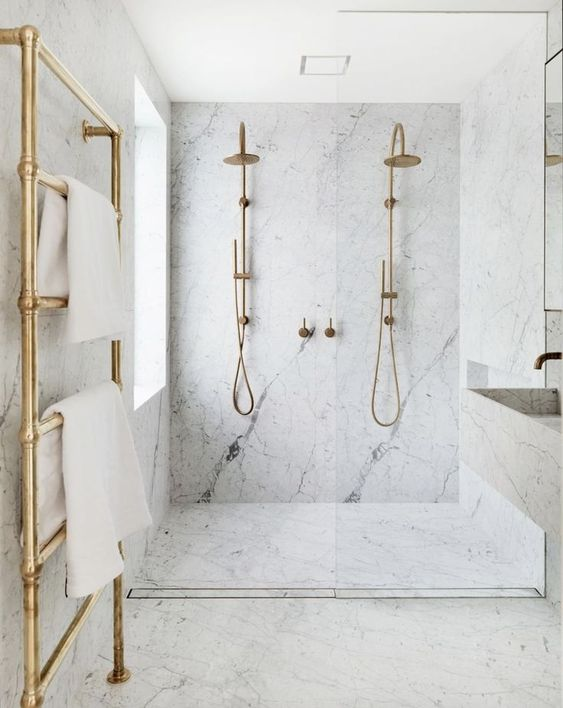 slab marble double shower