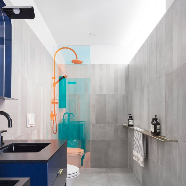 coloured statement shower screen