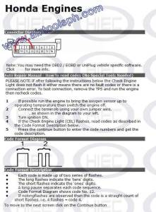 HONDA manual diagnostic jumper settings, www
