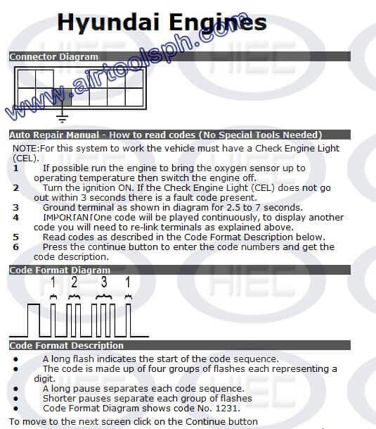 HYUNDAI2 PINS manual diagnostic jumper settings, www.airtoolsph.com, henry import and export corporation, veritek incorporaetd-Obd1 and obd 2 manual diagnostic-jumper settings-obd codes-