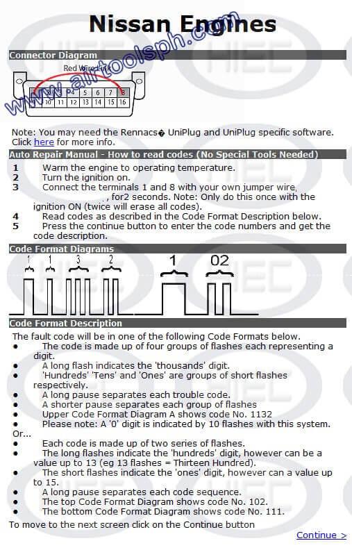 NISSAN 16  PINS manual diagnostic jumper settings, www.airtoolsph.com, henry import and export corporation, veritek incorporaetd-Obd1 and obd 2 manual diagnostic-jumper settings-obd codes-
