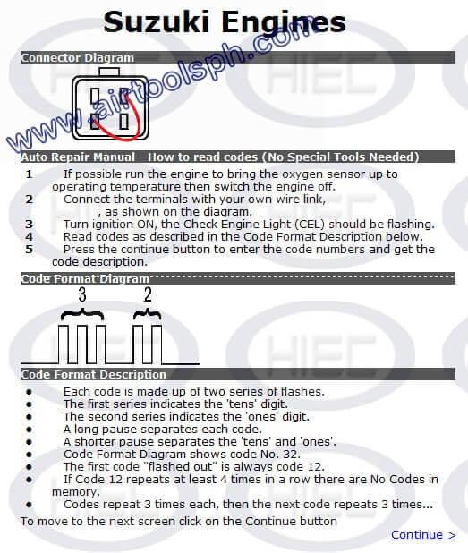 SUZUKI 4 PINS  manual diagnostic jumper settings, www.airtoolsph.com, henry import and export corporation, veritek incorporaetd-Obd1 and obd 2 manual diagnostic-jumper settings-obd codes-