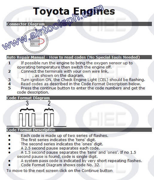 TOYOTA 2 PINS manual diagnostic jumper settings, www.airtoolsph.com, henry import and export corporation, veritek incorporaetd-Obd1 and obd 2 manual diagnostic-jumper settings-obd codes-