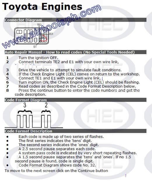 TOYOTA 23 PINS manual diagnostic jumper settings, www airtoolsph com