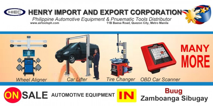 For sale Automotive Equipment and in Buugl Zambonga Sibugay-Car lifter-tire changer-wheel aligner-scanner-engine-car