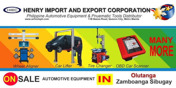 Air Drill,Air Hammer,Air Impact Wrench,Air Staplers,Automotive Diagnostic Scanner,Bead Seater,Brake Lathe,Car Lifter,City Products,Coil Nailer,Engine Crane,Flexitank,Freon Recovery,Hydraulic Press,Jack Stand,Manual Tire Mounting Tool,Nitrogen Generator,Our Client,Spray Gun,Spring Compressor,Tire Changer,Tool Caddy,Transmission Fluid Exchanger,Transmission Jack,Truck Tire Changer,Wheel Aligner,Wheel Balancing Machine,Zamboanga del Sur,Aurora,Bayog,Dimataling,Dinas,Dumalinao,Dumingag,Guipos,Josefina,Kumalarang,Labangan,Lakewood,Lapuyan,Mahayag,Margosatubig,Midsalip,Molave,Pagadian,Pitogo,Ramon Magsaysay (Liargo),San Miguel,San Pablo,Sominot (Don Mariano Marcos),Tabina,Tambulig,Tigbao,Tukuran,Vincenzo A. Sagun,Zamboanga City,Alicia,Buug,Diplahan,Imelda,Ipil,Kabasalan,Mabuhay,Malangas,Naga,Olutanga,Payao,Roseller Lim,Siay,Talusan,Titay,Tungawan,For sale Automotive Equipment and in Naga Zambonga Sibugay-Car lifter-tire changer-wheel aligner-scanner-engine-car,For sale Automotive Equipment and in Olutanga Zambonga Sibugay-Car lifter-tire changer-wheel aligner-scanner-engine-car