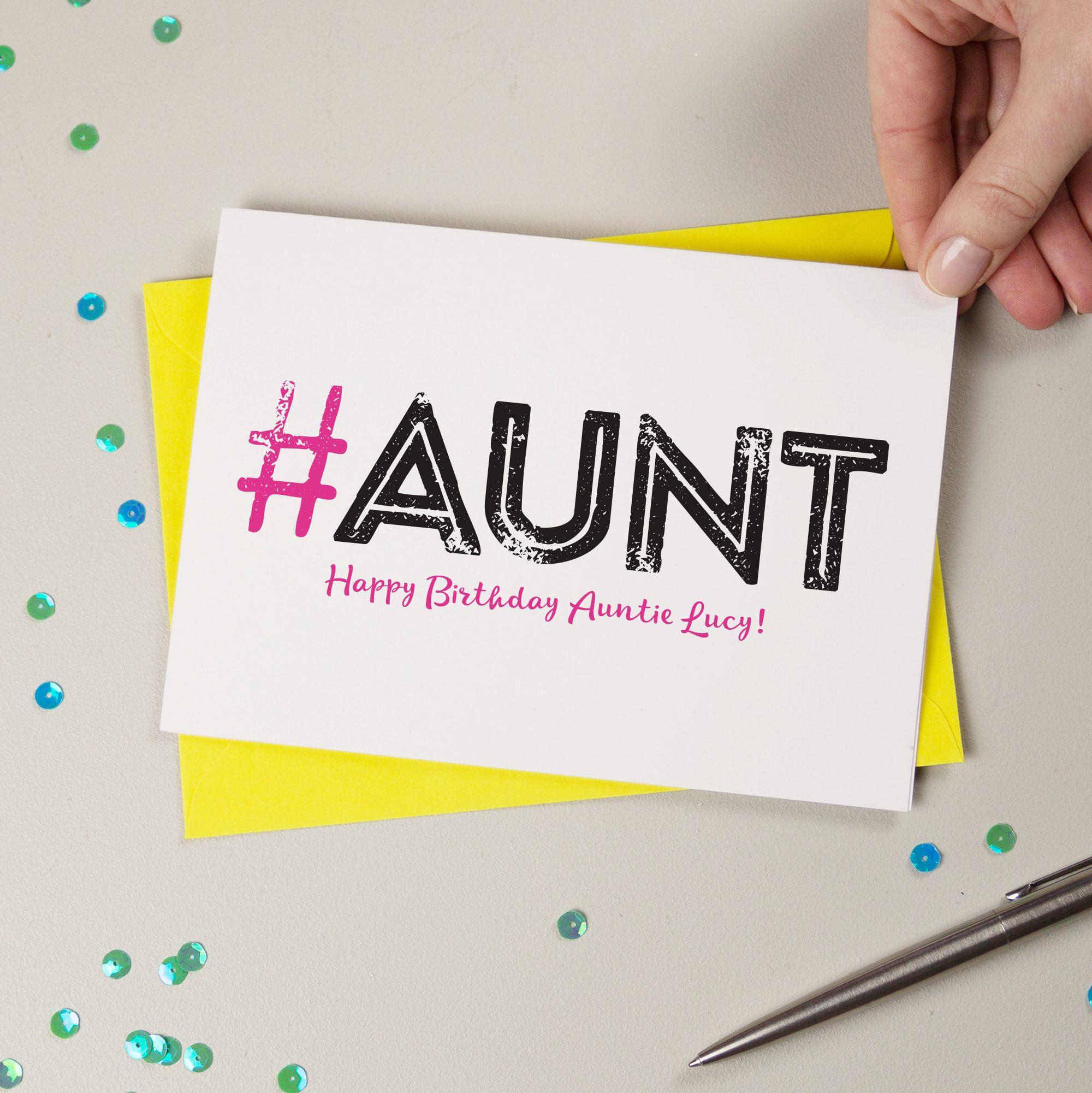 Hashtag Aunt Personalised Birthday Card Personalised Birthday Card