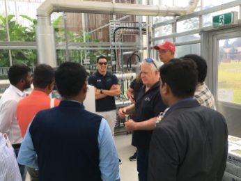 Greenworks Director, Dr Philip Jones and Edgar Lopez explain the WSU High-tech growing system at WSU