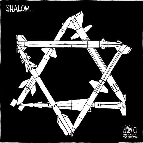 Aislin cartoon: Jewish star made out of rockets.