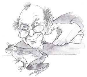 bow articles - Newsletters - Cartoon of a man oiling an actual frog (animal)