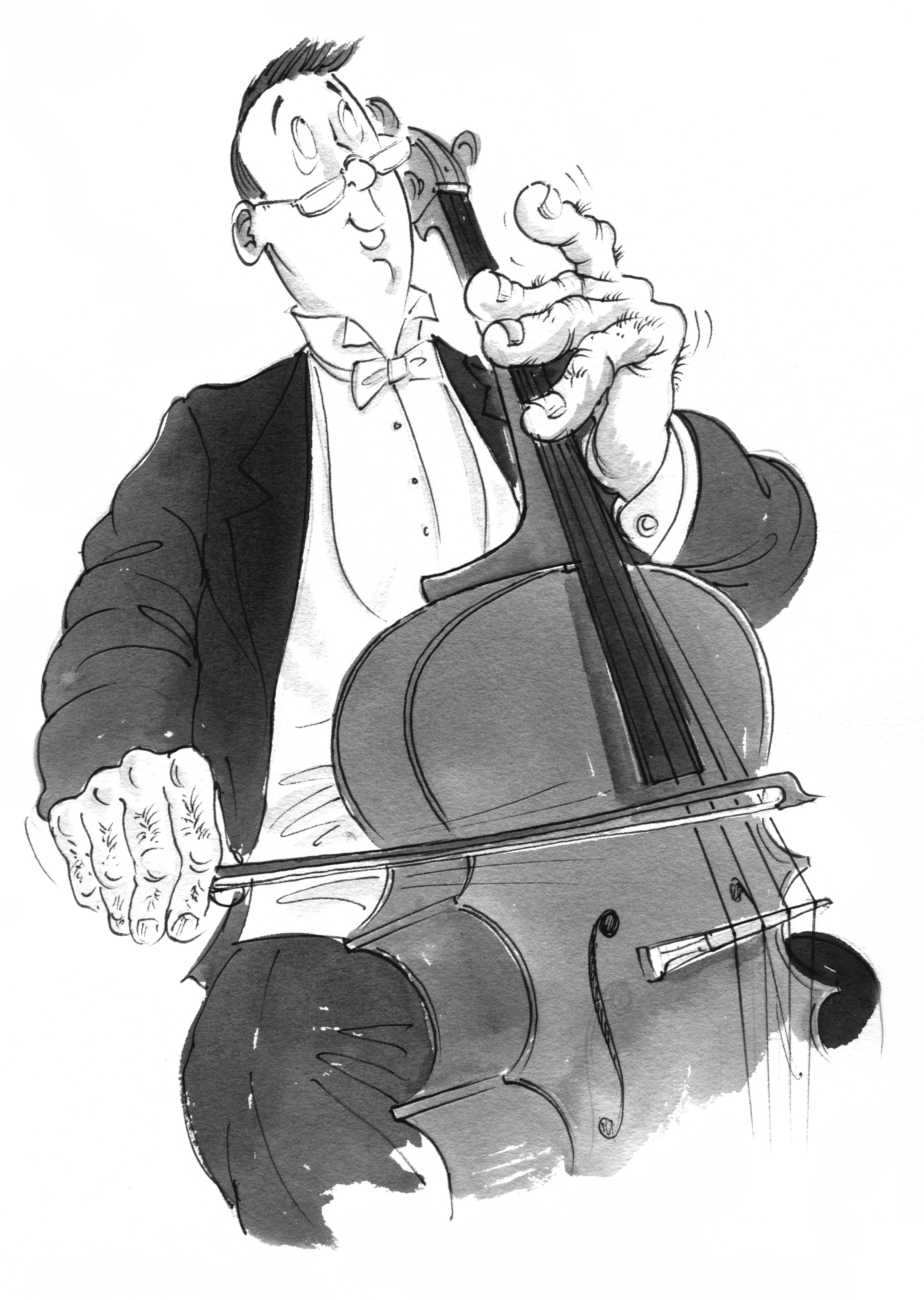 Cartoon of a man playing a cello with large hands