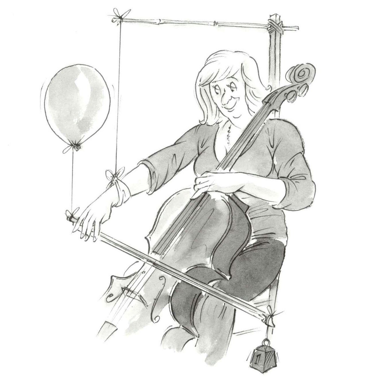 article library - right hand comfort - Cartoon of a lady playing with a balloon attached to her bow and her arm propped up