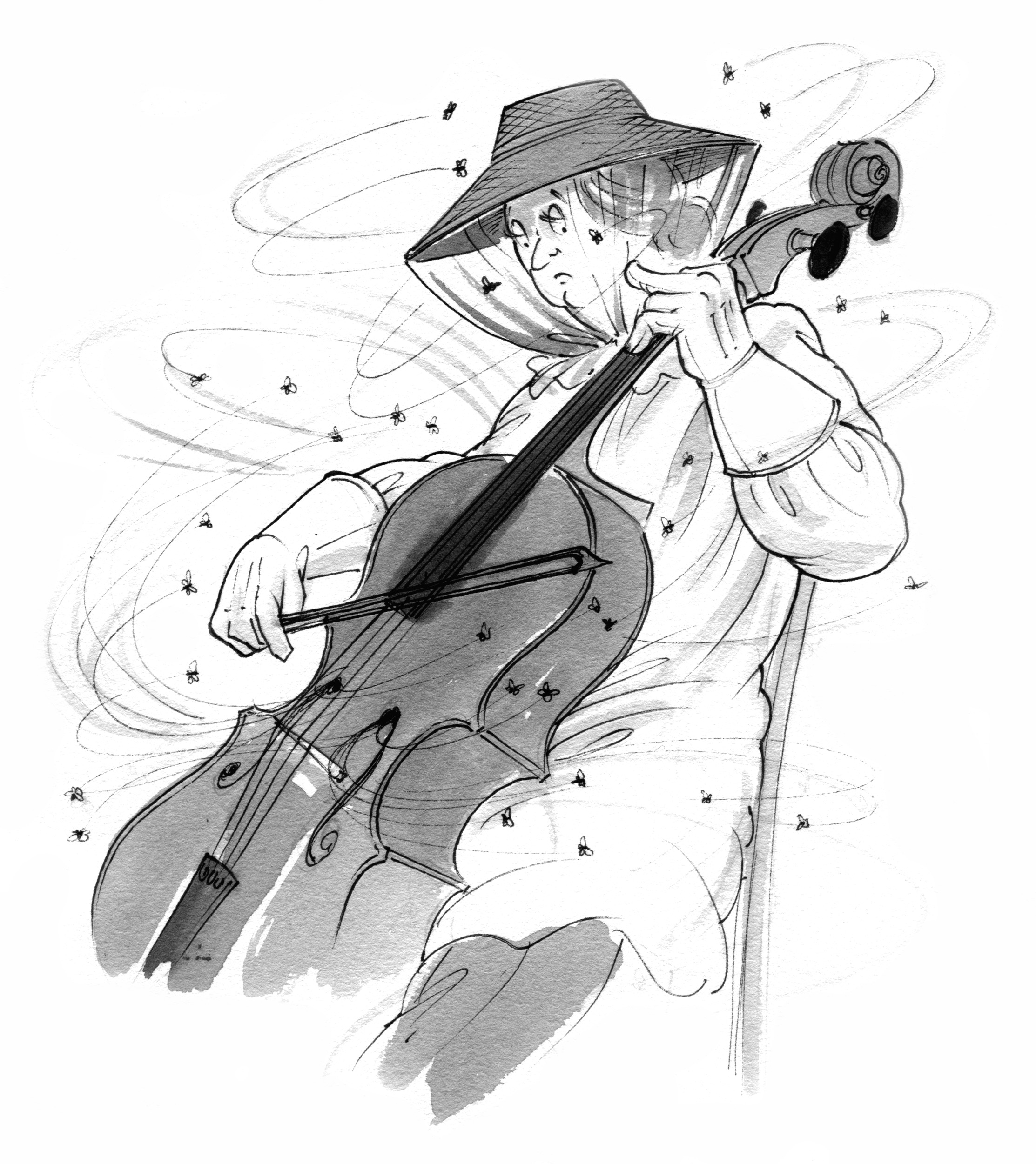 technical cello articles - cello buzz - Cartoon of a cellist in bee net being buzzed by lots of bees whilst playing