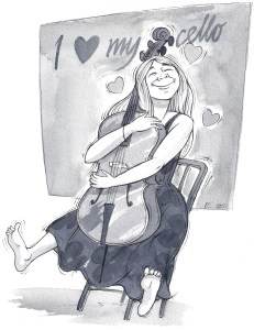 Cellist hugs her cello